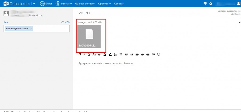 Como enviar un video por Outlook (Hotmail)
