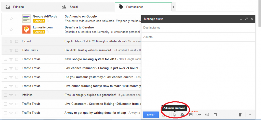Como enviar un video por Gmail