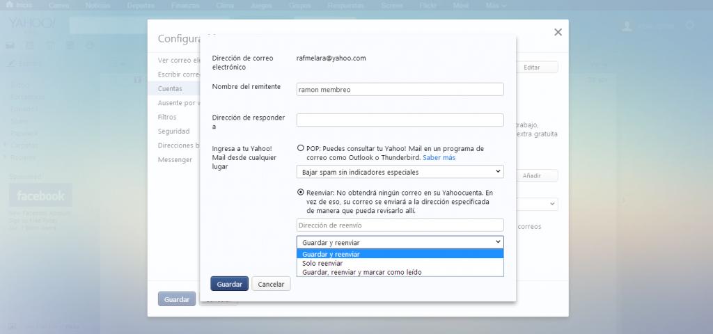 Cómo redireccionar correos de Yahoo a Outlook (Hotmail)