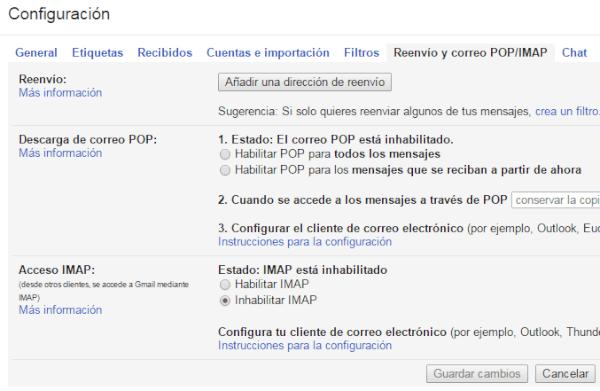 POP IMAP de Gmail