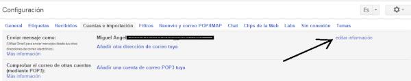 editar informacion gmail